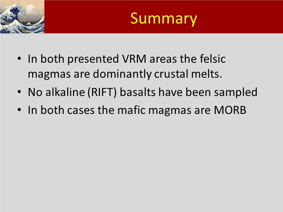 Klik om het opmaakprofiel te bewerken Klik om de opmaakprofielen van de modeltekst te bewerken – Tweede niveau Derde niveau – Vierde niveau » Vijfde niveau 18 Summary In both presented VRM areas the felsic magmas are dominantly crustal melts.