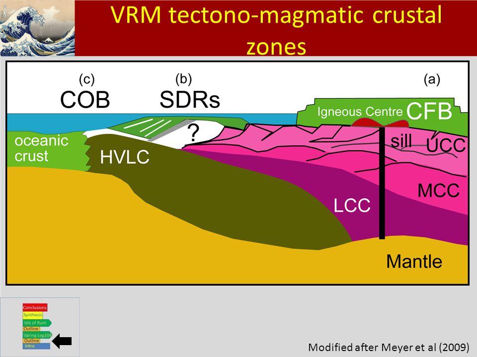 Klik om het opmaakprofiel te bewerken Klik om de opmaakprofielen van de modeltekst te bewerken – Tweede niveau Derde niveau – Vierde niveau » Vijfde niveau 4 VRM tectono-magmatic crustal zones Modified after Meyer et al (2009)