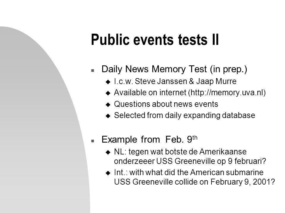 Public events tests II n Daily News Memory Test (in prep.) u I.c.w.