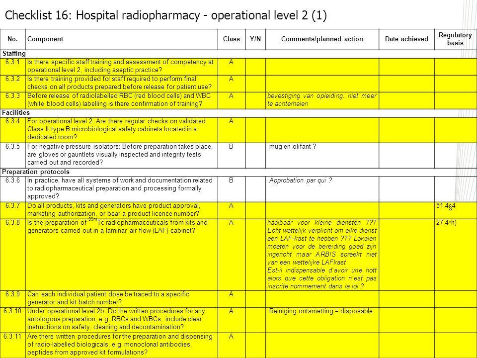 No.ComponentClassY/NComments/planned actionDate achieved Regulatory basis Staffing 6.3.1Is there specific staff training and assessment of competency at operational level 2, including aseptic practice.