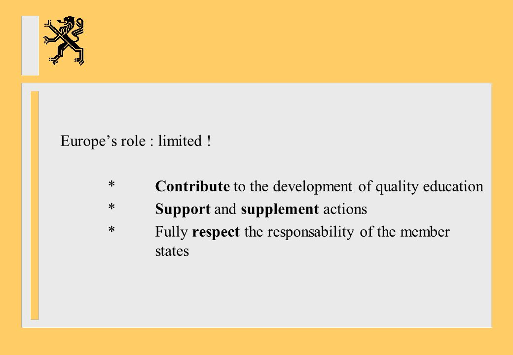 9.Enhanced cooperation in VET = Copenhagen process a.The Bologna process : paving the way *Ante : European higher education area -Lack of transparancy in structures -No quality assurance mechanism -No recognition of qualifications, credits *Post : The answer : -Bachelor – Master -Accreditation -ECTS
