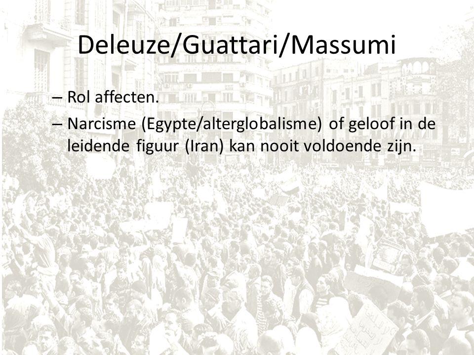 Deleuze/Guattari/Massumi – Rol affecten. – Narcisme (Egypte/alterglobalisme) of geloof in de leidende figuur (Iran) kan nooit voldoende zijn.