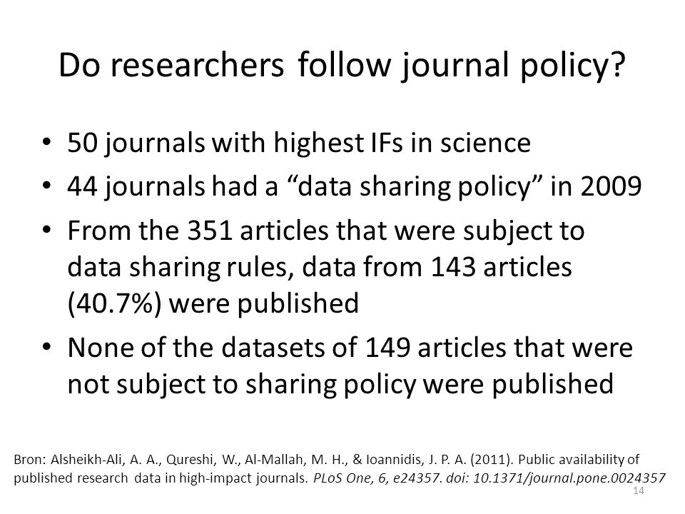 50 journals with highest IFs in science 44 journals had a data sharing policy in 2009 From the 351 articles that were subject to data sharing rules, data from 143 articles (40.7%) were published None of the datasets of 149 articles that were not subject to sharing policy were published Bron: Alsheikh-Ali, A.
