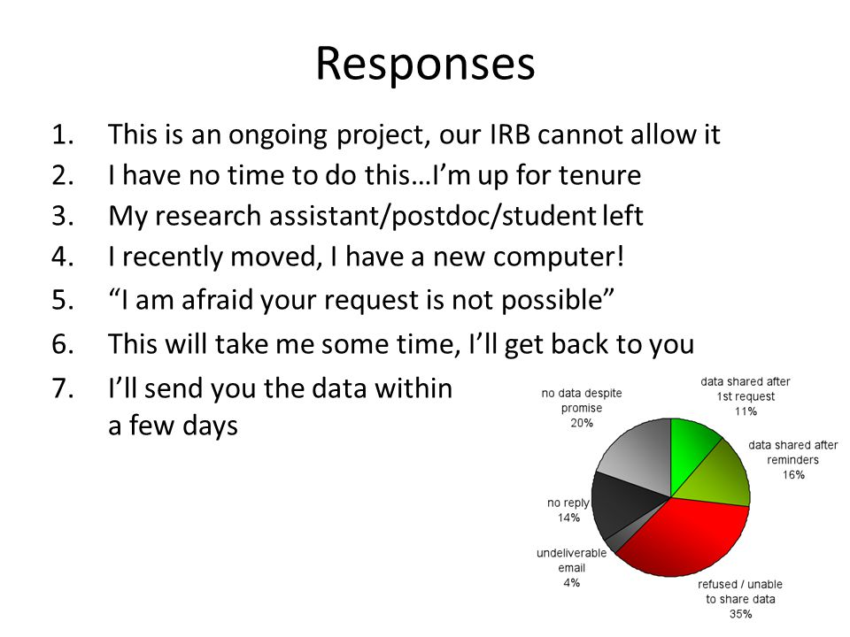 16 Responses 1.This is an ongoing project, our IRB cannot allow it 2.I have no time to do this…I'm up for tenure 3.My research assistant/postdoc/student left 4.I recently moved, I have a new computer.