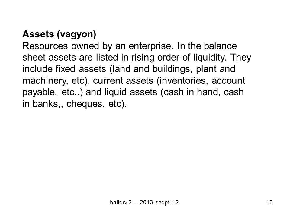 halterv 2. -- 2013. szept. 12.15 Assets (vagyon) Resources owned by an enterprise.