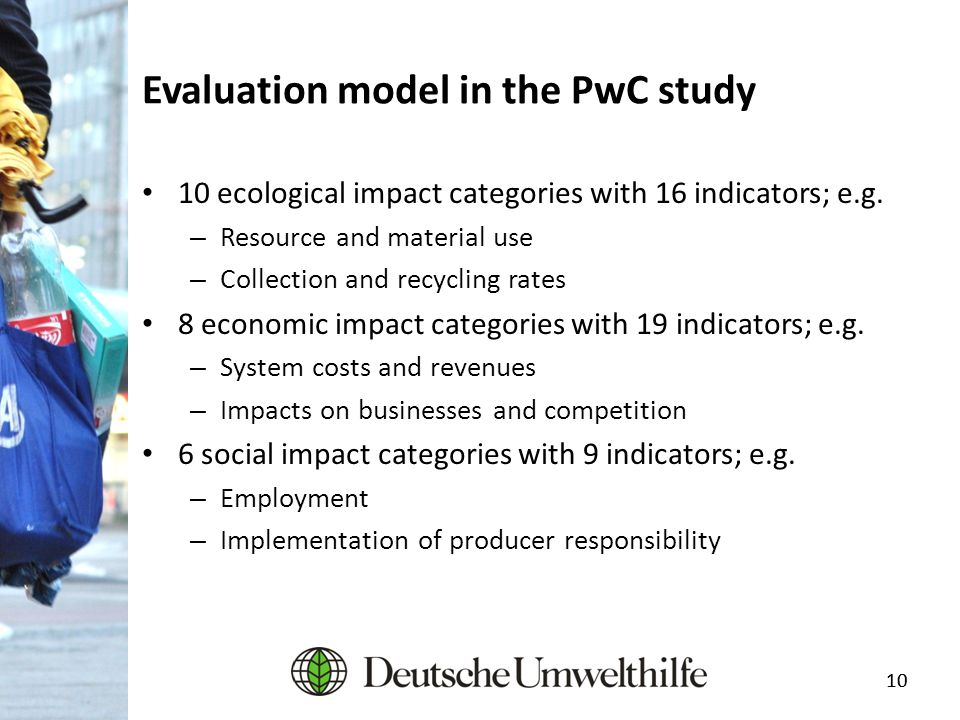 10 Evaluation model in the PwC study 10 ecological impact categories with 16 indicators; e.g. – Resource and material use – Collection and recycling r