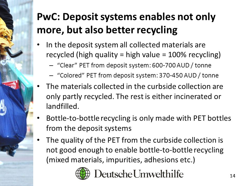 14 PwC: Deposit systems enables not only more, but also better recycling In the deposit system all collected materials are recycled (high quality = hi