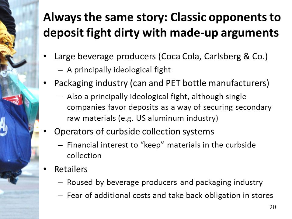 20 Always the same story: Classic opponents to deposit fight dirty with made-up arguments Large beverage producers (Coca Cola, Carlsberg & Co.) – A pr