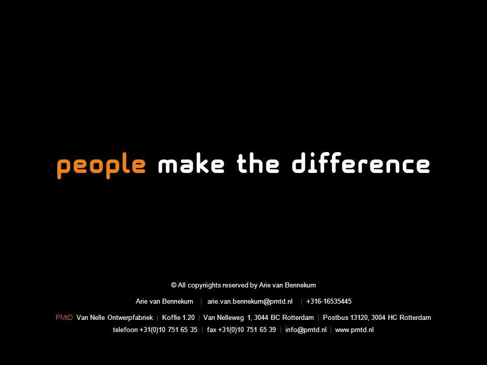 Titel presentatie| 22 © All copyriights reserved by Arie van Bennekum Arie van Bennekum | arie.van.bennekum@pmtd.nl | +316-16535445 PMtD Van Nelle Ontwerpfabriek | Koffie 1.20 | Van Nelleweg 1, 3044 BC Rotterdam | Postbus 13120, 3004 HC Rotterdam telefoon +31(0)10 751 65 35 | fax +31(0)10 751 65 39 | info@pmtd.nl | www.pmtd.nl
