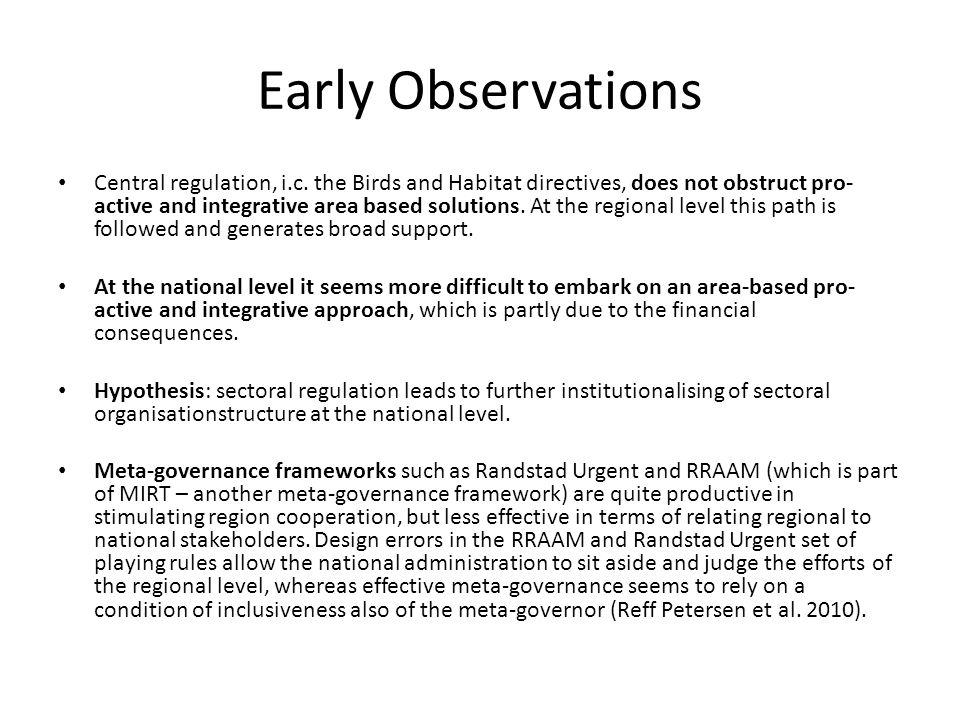 Early Observations Central regulation, i.c.