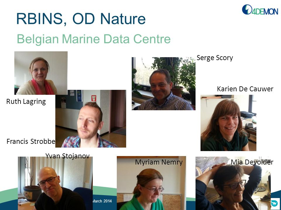 RBINS, OD Nature Belgian Marine Data Centre Kick-off 4DEMON, RBINS, 13 March 2014 Ruth Lagring Francis Strobbe Serge Scory Karien De Cauwer Yvan Stoja