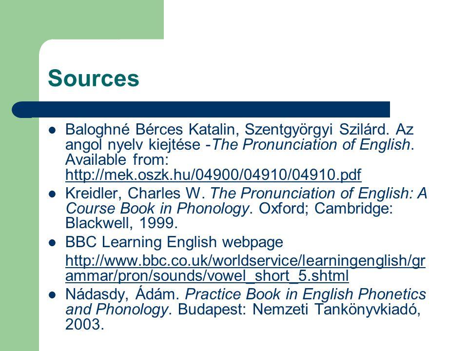 Sources Baloghné Bérces Katalin, Szentgyörgyi Szilárd.