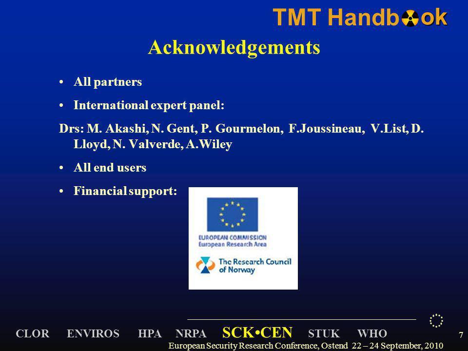 CLOR ENVIROS HPA NRPA SCKCEN STUK WHO TMT Handbok Acknowledgements All partners International expert panel: Drs: M. Akashi, N. Gent, P. Gourmelon, F.J