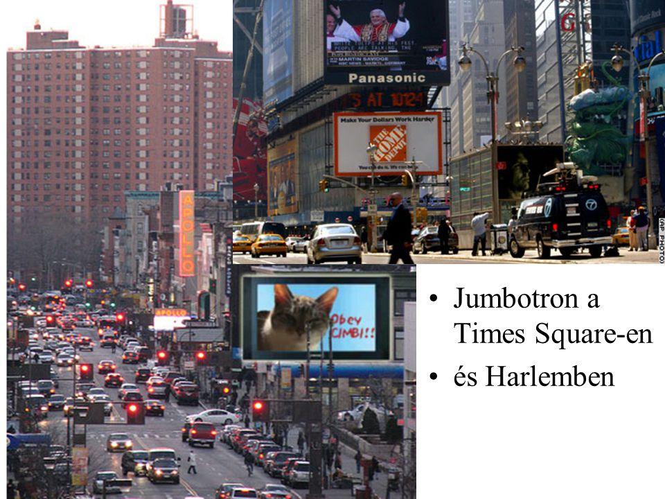 Jumbotron a Times Square-en és Harlemben
