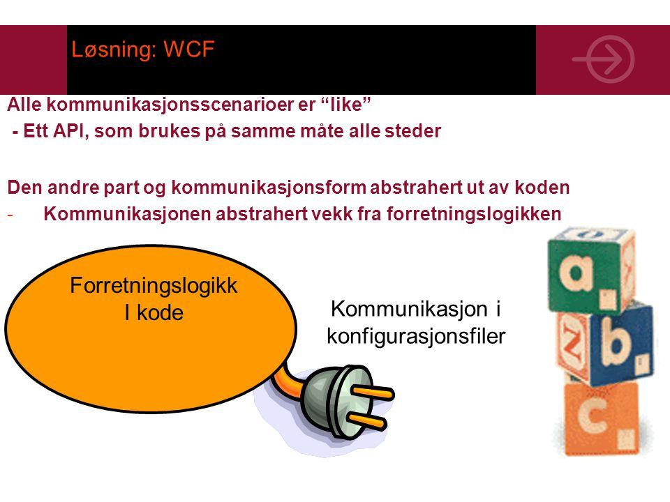 Løsning: WCF Alle kommunikasjonsscenarioer er like - Ett API, som brukes på samme måte alle steder Den andre part og kommunikasjonsform abstrahert ut av koden -Kommunikasjonen abstrahert vekk fra forretningslogikken Forretningslogikk I kode Kommunikasjon i konfigurasjonsfiler