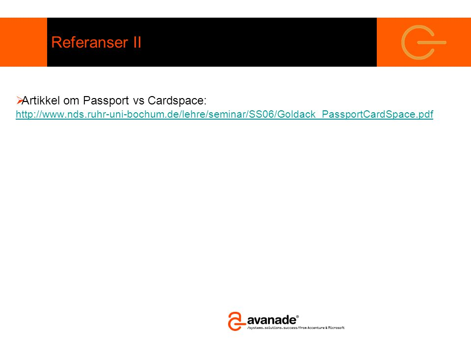 Referanser II  Artikkel om Passport vs Cardspace: