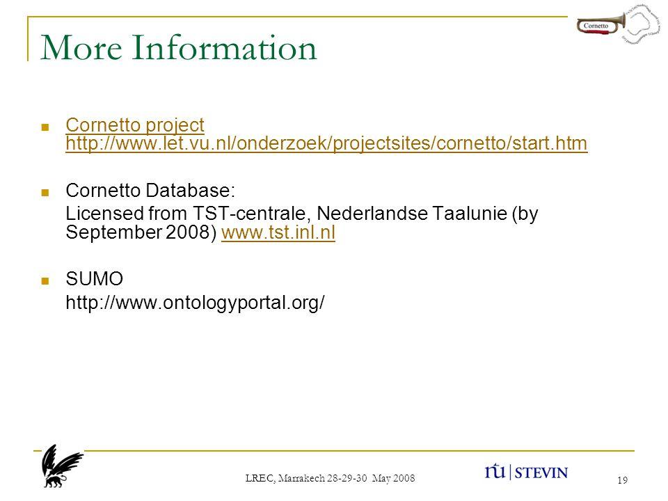 LREC, Marrakech 28-29-30 May 2008 19 More Information Cornetto project http://www.let.vu.nl/onderzoek/projectsites/cornetto/start.htm Cornetto project http://www.let.vu.nl/onderzoek/projectsites/cornetto/start.htm Cornetto Database: Licensed from TST-centrale, Nederlandse Taalunie (by September 2008) www.tst.inl.nlwww.tst.inl.nl SUMO http://www.ontologyportal.org/