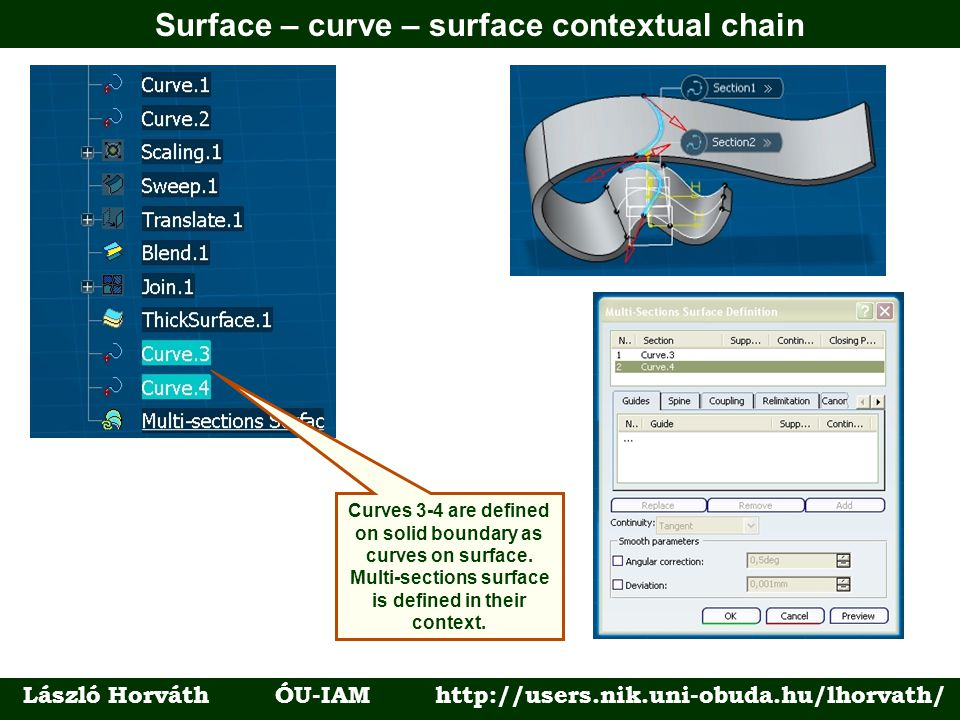 Surface – curve – surface contextual chain László Horváth ÓU-IAM http://users.nik.uni-obuda.hu/lhorvath/ Curves 3-4 are defined on solid boundary as curves on surface.