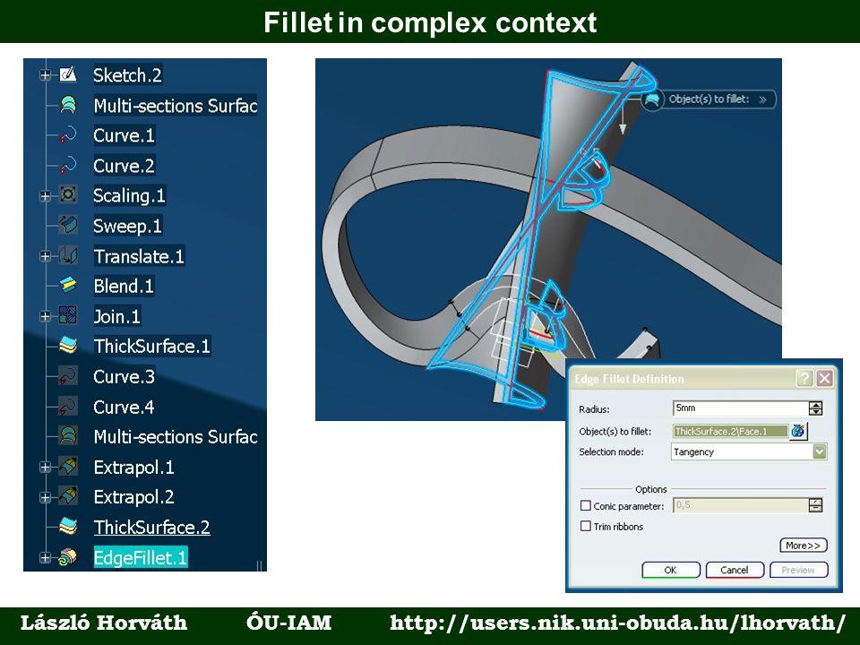 Fillet in complex context László Horváth ÓU-IAM http://users.nik.uni-obuda.hu/lhorvath/