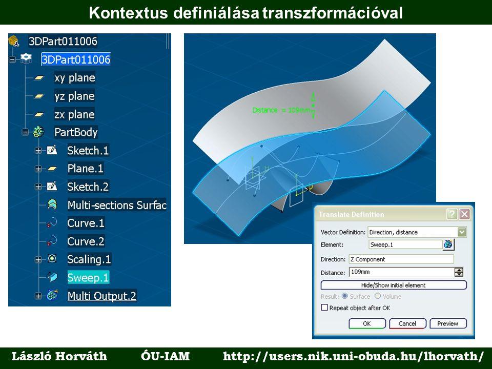 Kontextus definiálása transzformációval László Horváth ÓU-IAM http://users.nik.uni-obuda.hu/lhorvath/
