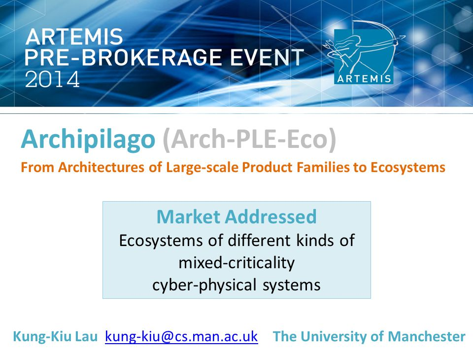 Archipilago (Arch-PLE-Eco) From Architectures of Large-scale Product Families to Ecosystems Market Addressed Ecosystems of different kinds of mixed-criticality cyber-physical systems Kung-Kiu Lau kung-kiu@cs.man.ac.ukkung-kiu@cs.man.ac.uk The University of Manchester