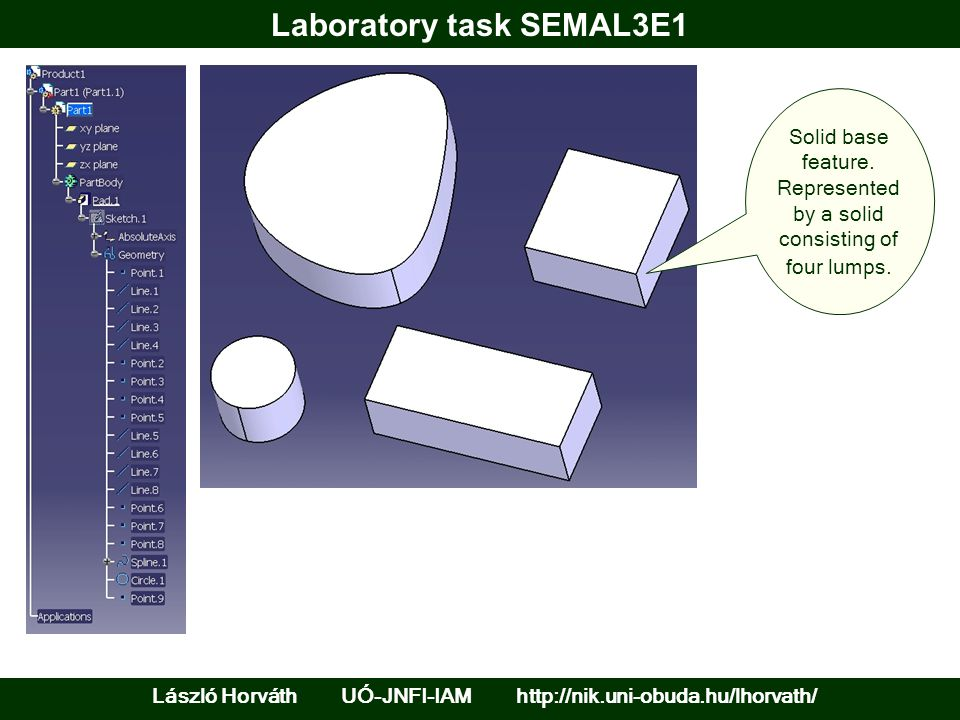 Laboratory task SEMAL3E1 László Horváth UÓ-JNFI-IAM http://nik.uni-obuda.hu/lhorvath/ Solid base feature. Represented by a solid consisting of four lu