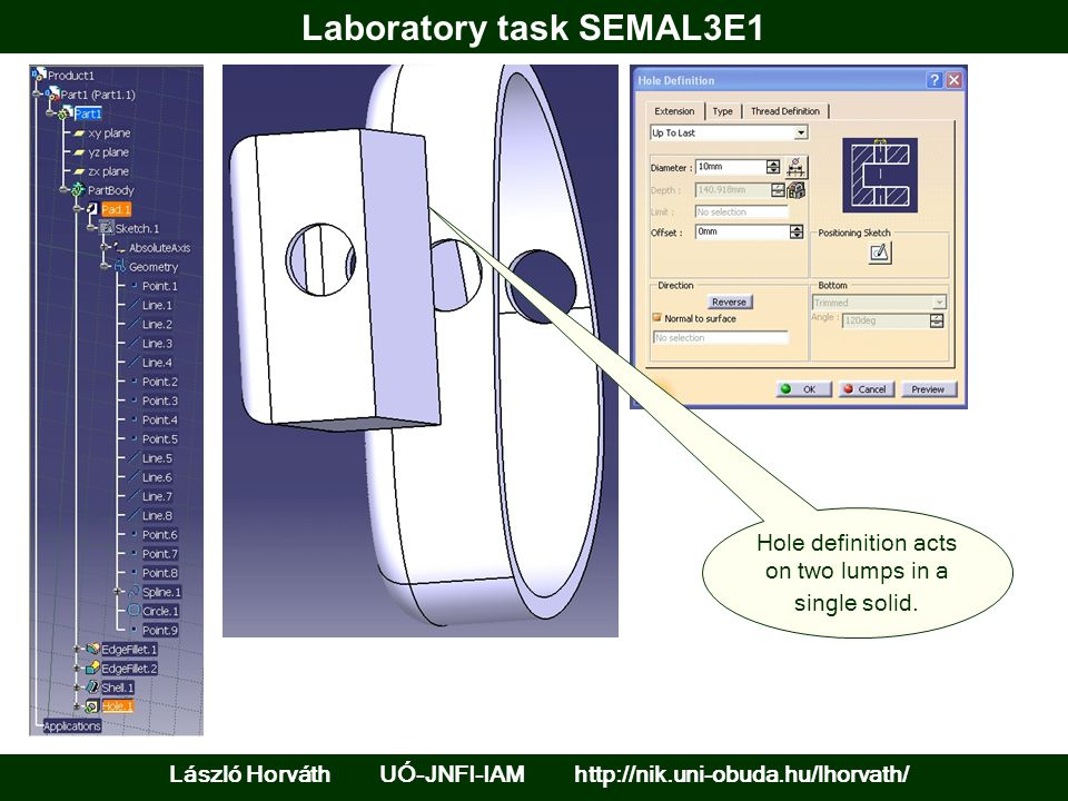 Laboratory task SEMAL3E1 László Horváth UÓ-JNFI-IAM http://nik.uni-obuda.hu/lhorvath/ Hole definition acts on two lumps in a single solid.