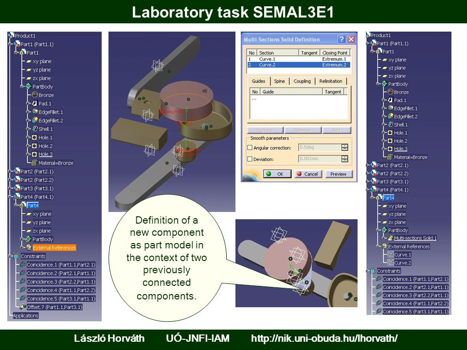 Laboratory task SEMAL3E1 László Horváth UÓ-JNFI-IAM http://nik.uni-obuda.hu/lhorvath/ Definition of a new component as part model in the context of two previously connected components.