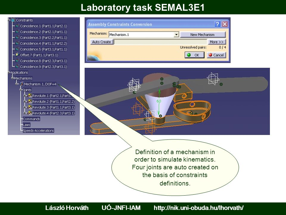 Laboratory task SEMAL3E1 László Horváth UÓ-JNFI-IAM http://nik.uni-obuda.hu/lhorvath/ Definition of a mechanism in order to simulate kinematics.