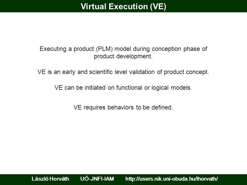 Virtual Execution (VE) László Horváth UÓ-JNFI-IAM http://users.nik.uni-obuda.hu/lhorvath/ Executing a product (PLM) model during conception phase of p