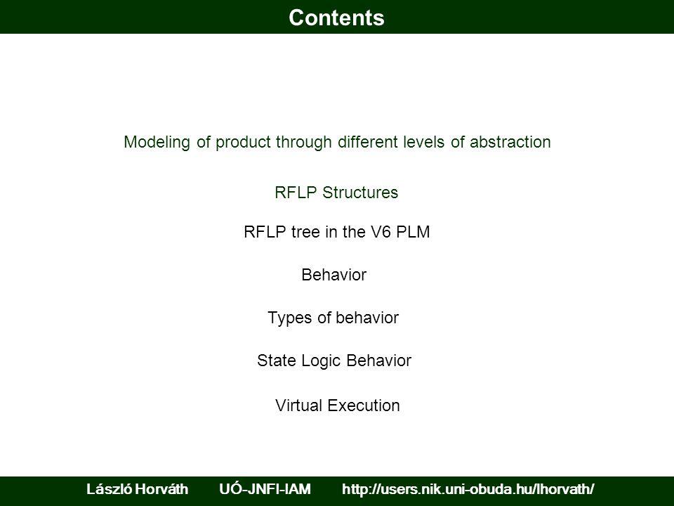Contents László Horváth UÓ-JNFI-IAM http://users.nik.uni-obuda.hu/lhorvath/ RFLP Structures Behavior Types of behavior Modeling of product through dif