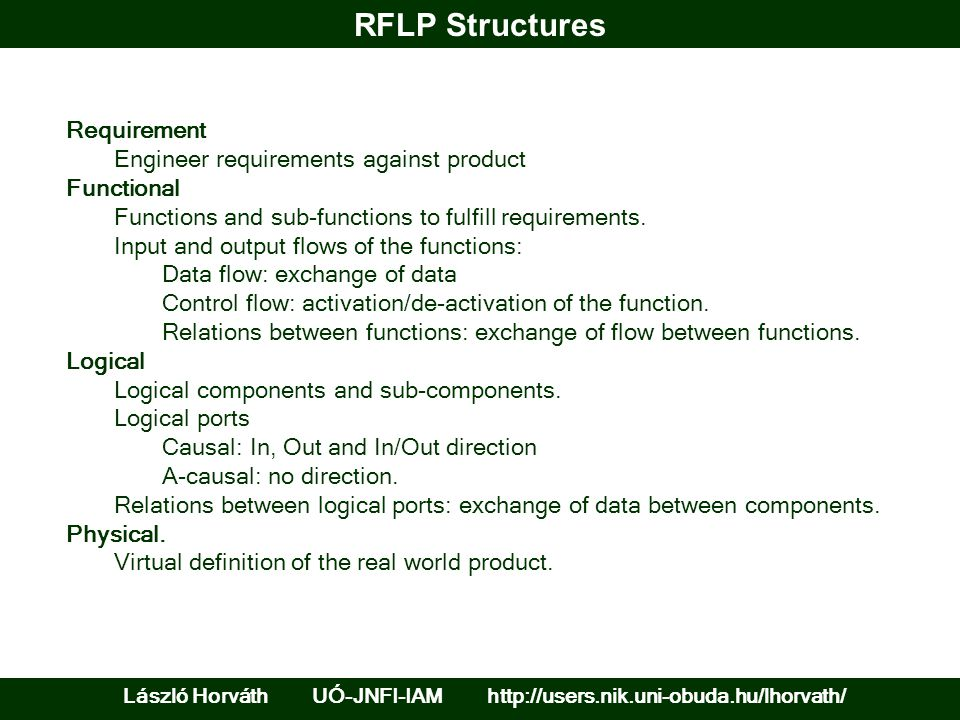RFLP Structures László Horváth UÓ-JNFI-IAM http://users.nik.uni-obuda.hu/lhorvath/ Requirement Engineer requirements against product Functional Functi