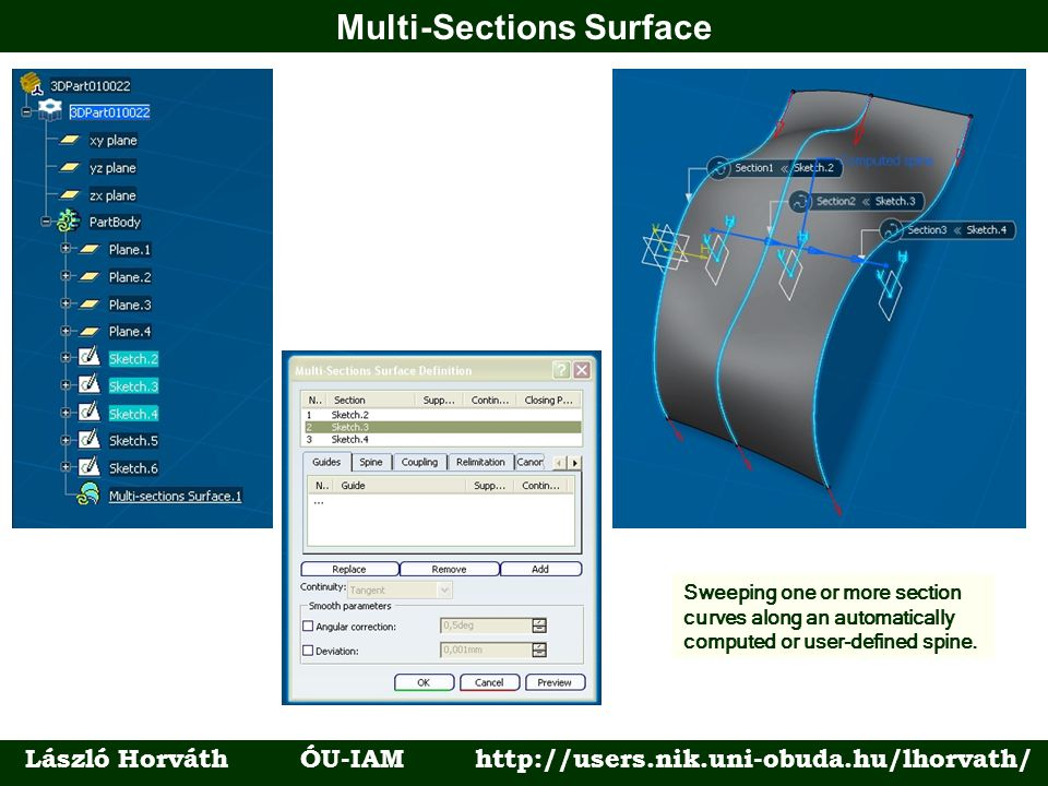 Multi-Sections Surface László Horváth ÓU-IAM http://users.nik.uni-obuda.hu/lhorvath/ Sweeping one or more section curves along an automatically comput