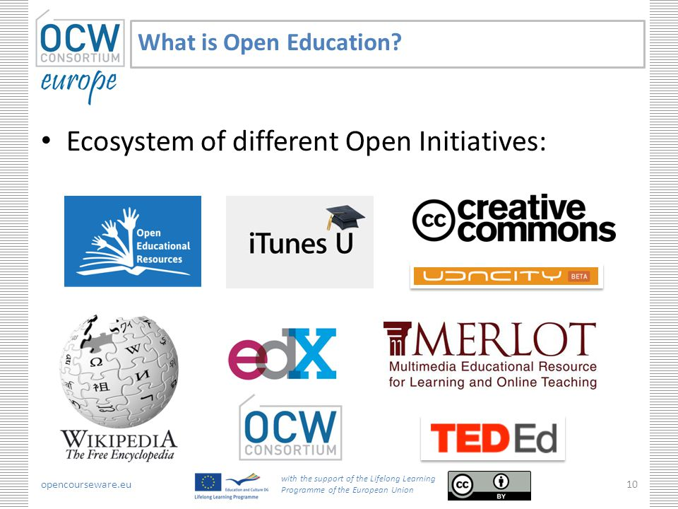 opencourseware.eu with the support of the Lifelong Learning Programme of the European Union 10 What is Open Education.