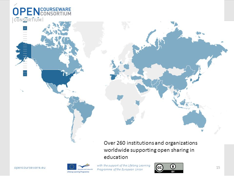 opencourseware.eu with the support of the Lifelong Learning Programme of the European Union 15 Over 260 institutions and organizations worldwide suppo