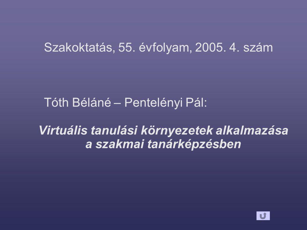 Szakoktatás, 55. évfolyam, 2005. 4. szám Tóth Béláné – Pentelényi Pál: Virtuális tanulási környezetek alkalmazása a szakmai tanárképzésben