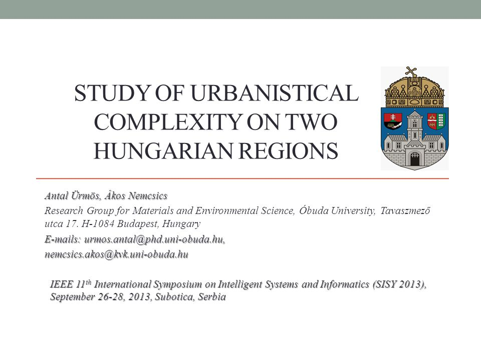 Introduction In this work, we study and compare two Hungarian regions, from the viewpoint of complexity and self-assembly.