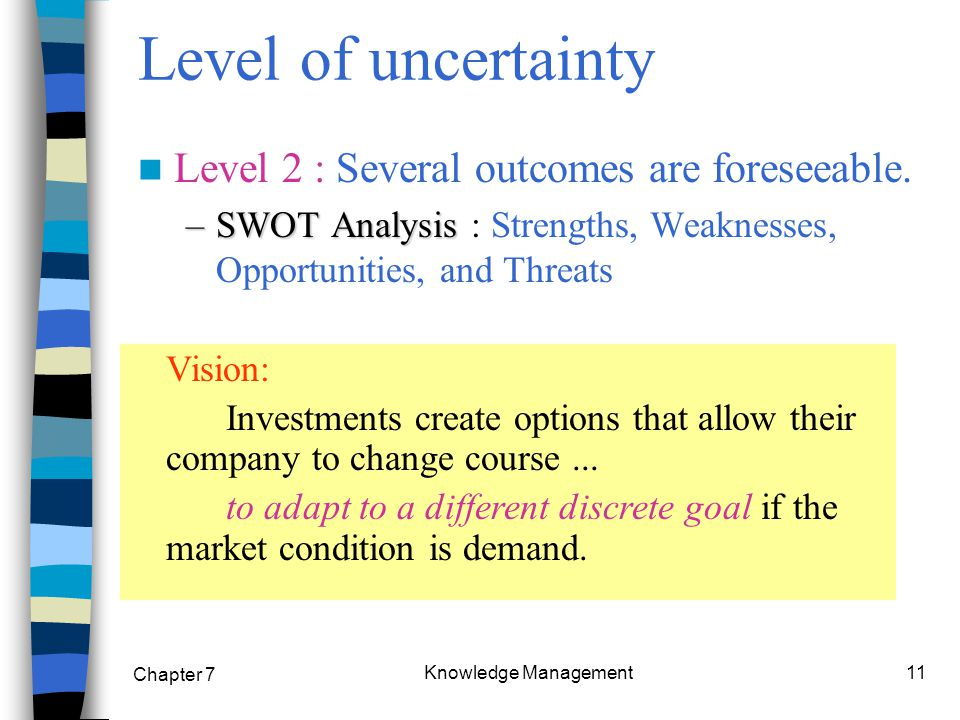 Chapter 7 Knowledge Management11 Level 2 : Several outcomes are foreseeable.