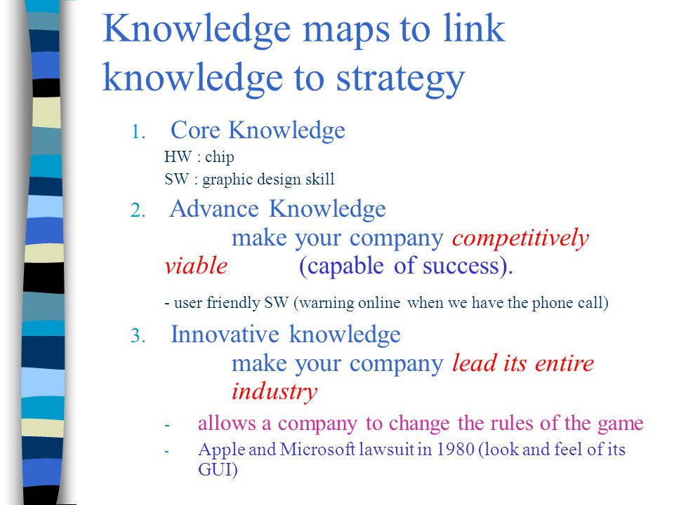 Chapter 7 Knowledge Management25 Knowledge maps to link knowledge to strategy 1. Core Knowledge HW : chip SW : graphic design skill 2. Advance Knowled