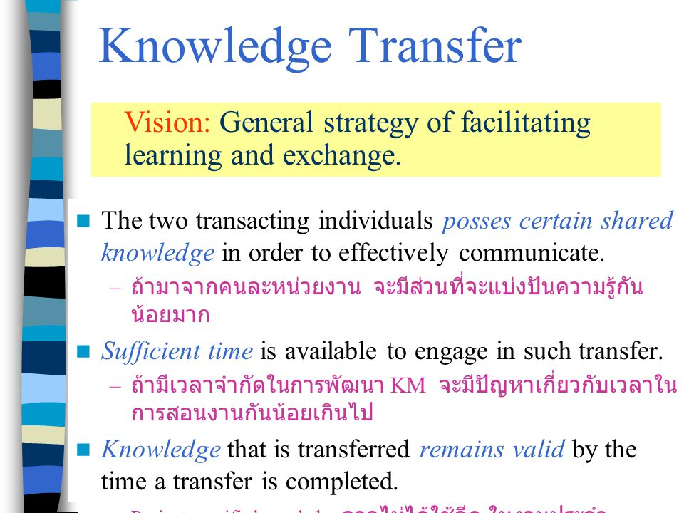 Chapter 7 Knowledge Management7 Knowledge Integration Promote synthesis of individually held knowledge at the task level.