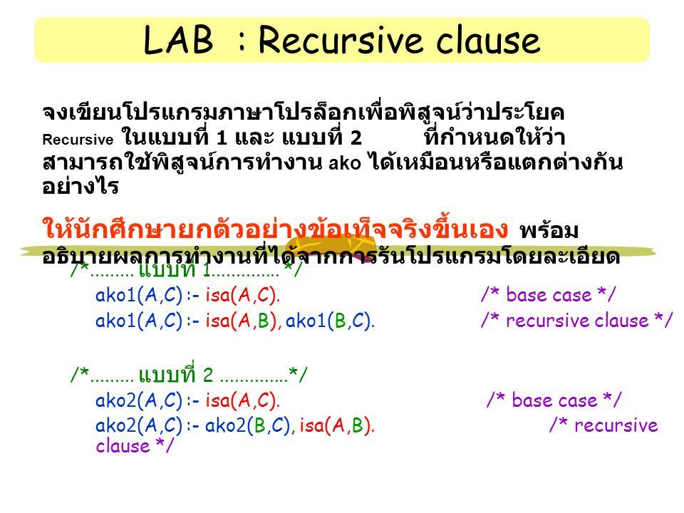 LAB : Recursive clause /*.........แบบที่ 1..............
