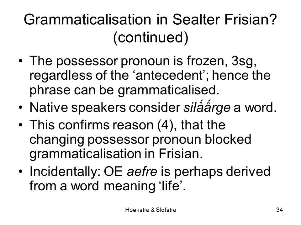 Hoekstra & Slofstra34 Grammaticalisation in Sealter Frisian.