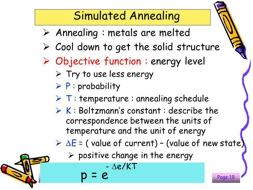 323-670 Artificial Intelligence Lecture 7-12Page 19 Simulated Annealing  Annealing : metals are melted  Cool down to get the solid structure  Objec