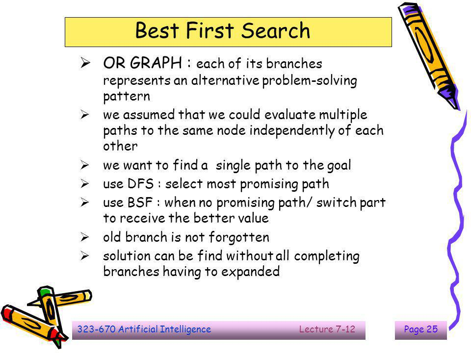 323-670 Artificial Intelligence Lecture 7-12Page 25 Best First Search  OR GRAPH : each of its branches represents an alternative problem-solving patt