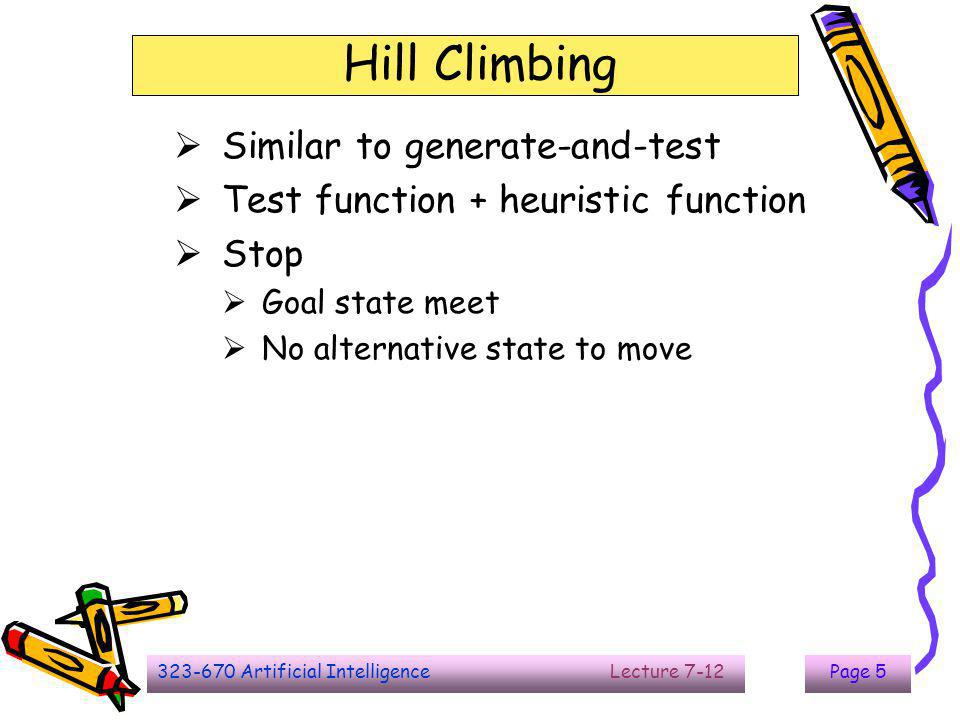 323-670 Artificial Intelligence Lecture 7-12Page 5 Hill Climbing  Similar to generate-and-test  Test function + heuristic function  Stop  Goal sta