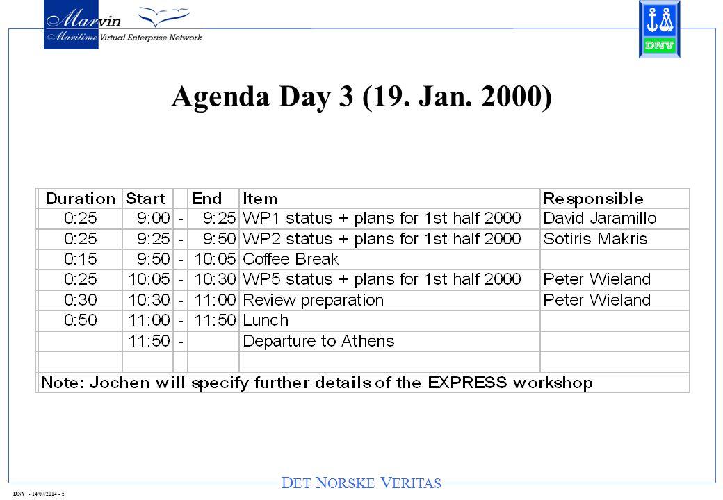 D ET N ORSKE V ERITAS DNV - 14/07/2014 - 5 Agenda Day 3 (19. Jan. 2000)