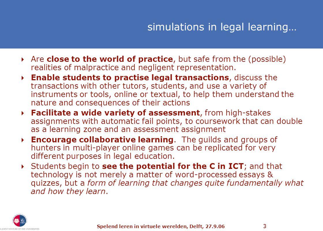 Spelend leren in virtuele werelden, Delft, 27.9.06 64 future applications… http://blogs.law.harvard.edu/cyberone/