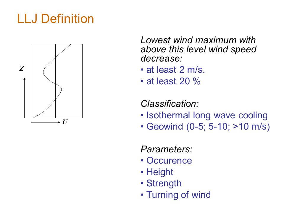 LLJ Definition Lowest wind maximum with above this level wind speed decrease: at least 2 m/s.