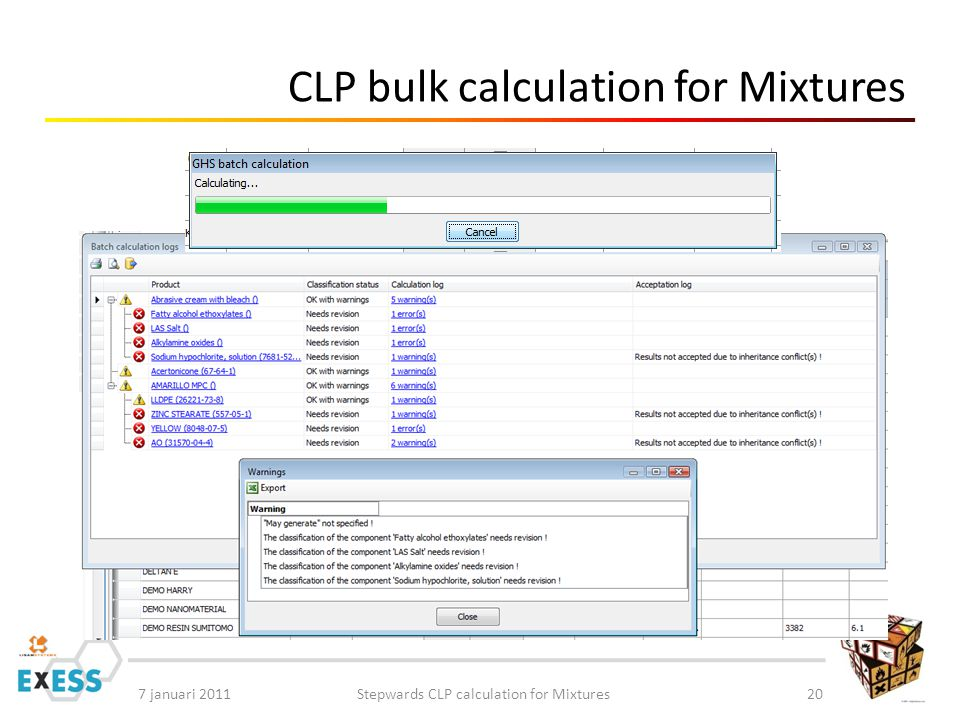 7 januari 2011Stepwards CLP calculation for Mixtures20 CLP bulk calculation for Mixtures