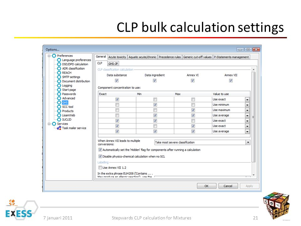 7 januari 2011Stepwards CLP calculation for Mixtures21 CLP bulk calculation settings